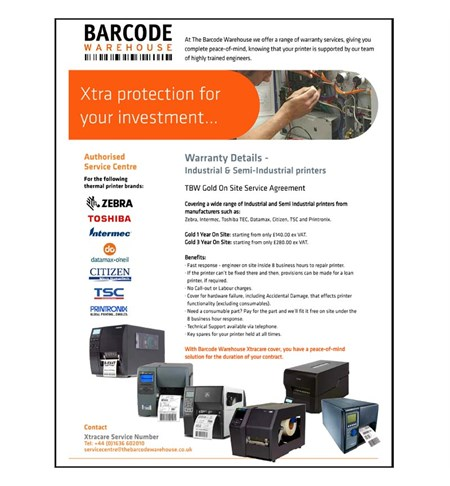 1 Year Gold Xtracare Warranty for Semi-Industrial Printers